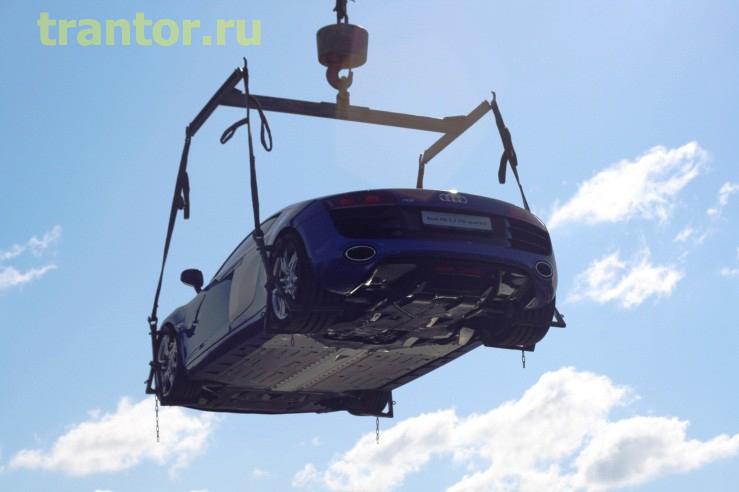 Подъем автомашины Ауди стоимостью 8 000 000 рублей, на крышу 7 этажного здания!