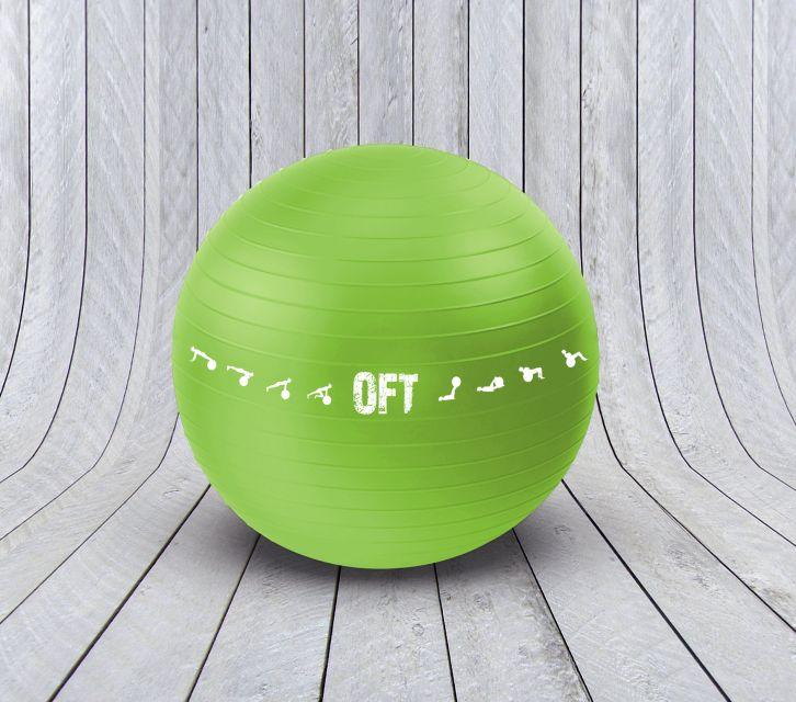 Гимнастический мяч 65 см Original FitTools для коммерческого использования зеленый