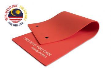 Мат для аэробики Original FitTools 10 мм красный с кольцами