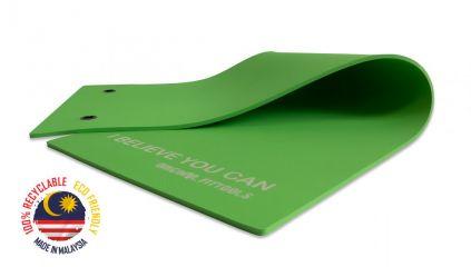 Мат для аэробики Original FitTools 10 мм зеленый с кольцами