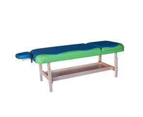 Массажный стационарный стол DFC NIRVANA, SUPERIOR2, дерев. ножки, 2 секции, цвет бирюз.с зелен. TS200