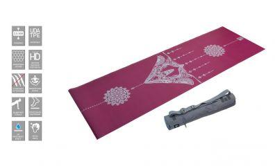 Коврик для йоги 2.5 мм пурпурный в сумке с ремешком FT-TYM025-PP