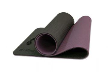 Коврик для йоги 10 мм двухслойный TPE черно-фиолетовый OFT
