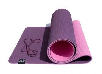Коврик для йоги OFT 6 мм двуслойный TPE бордово-розовый