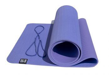 Коврик для йоги 6 мм двуслойный TPE фиолетово-сиреневый